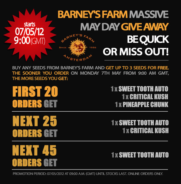 Free Barney's Seed Giveaway Monday 7th May 2012